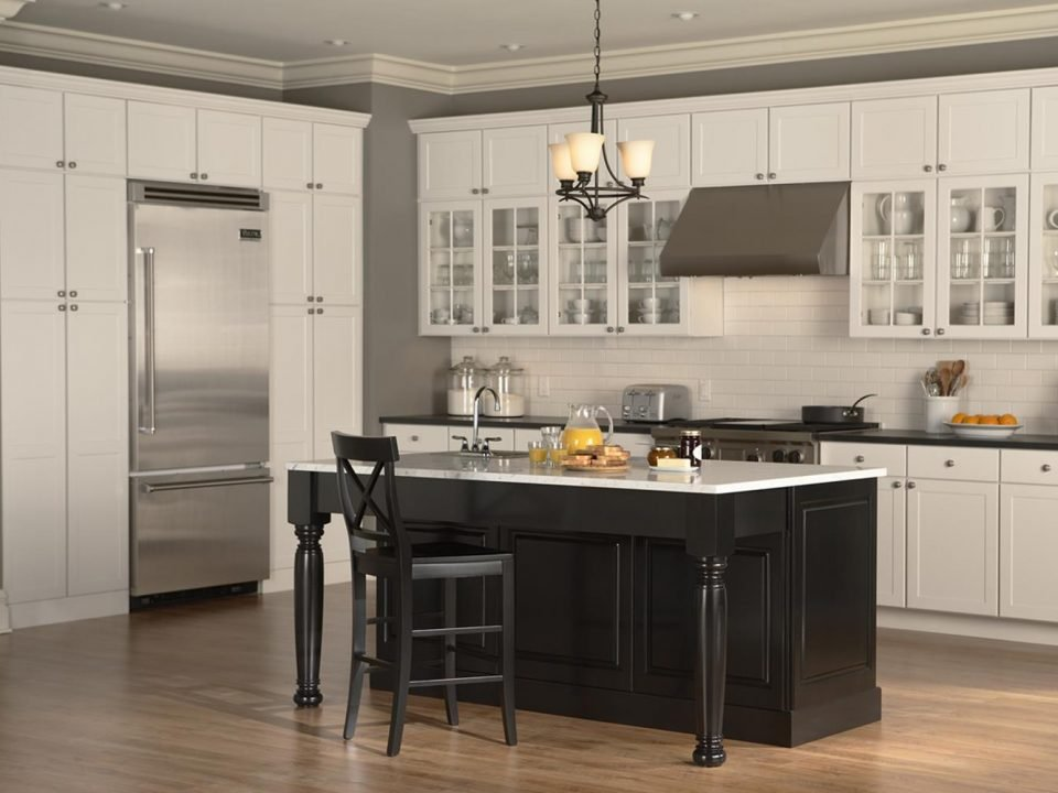white kitchen cabinets farmhouse style with dark black island cabinets