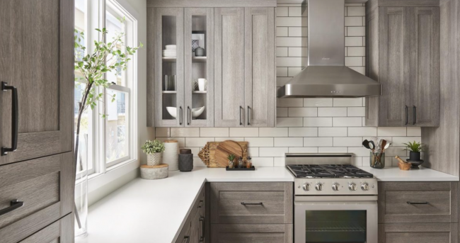 full overlay cabinets in light rustic gray