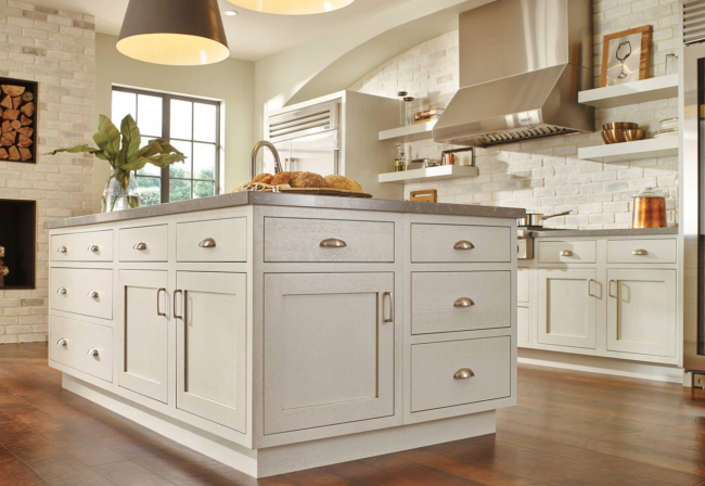 white inset cabinets on large kitchen cabinet