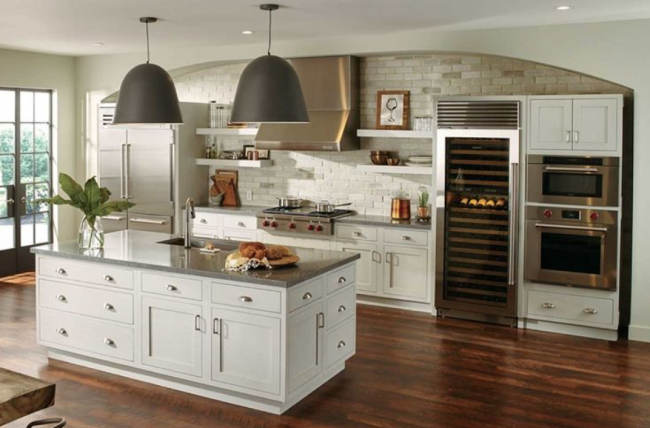 white inset cabinets kitchen island and double oven