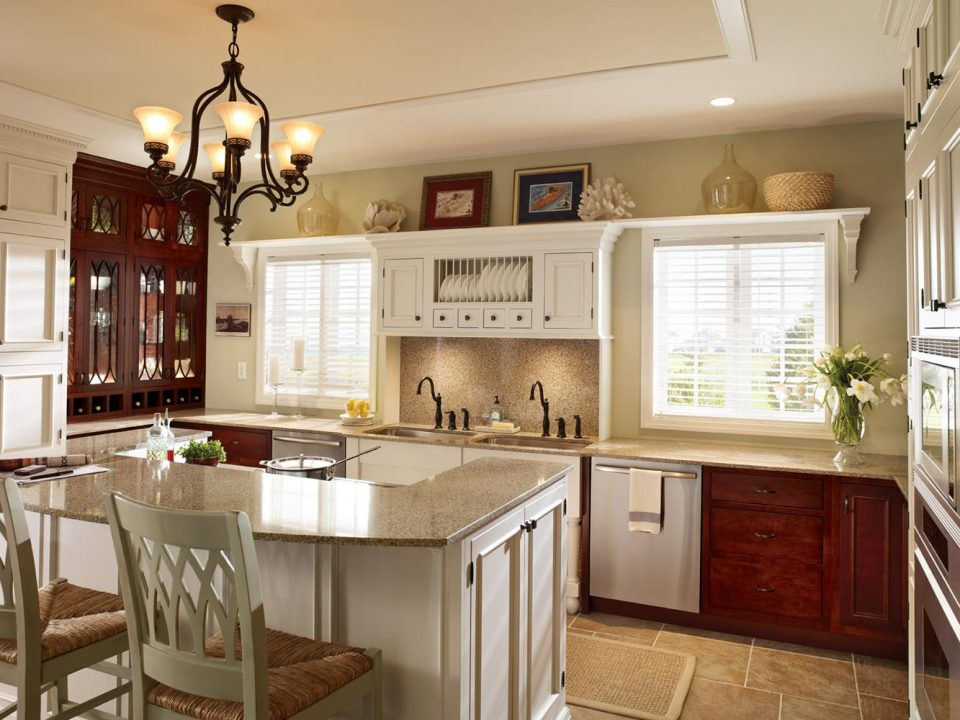 white and wood color cabinets with recessed panel kitchen cabinet door types