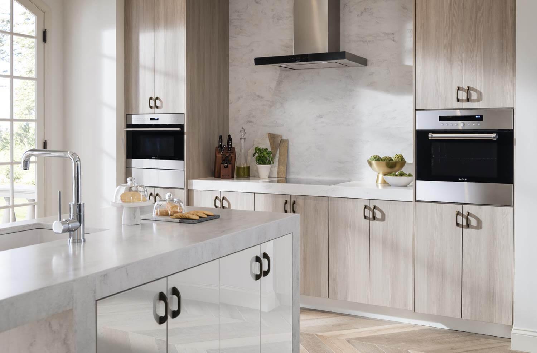 slab kitchen cabinet door style with black hardware